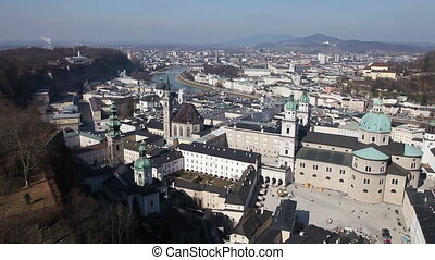 Salzburg, Austria - Panoramic view of Salzburgs Old Town,...