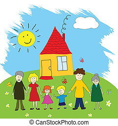 Happy family, child's drawing style - Vector Illustration of...