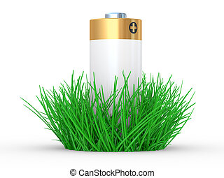 Green grass and battery, ecology concept