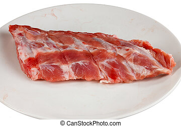 spare ribs on a white plate