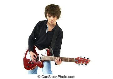guy playing guitar on white background