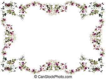flowers frame in white background isolated