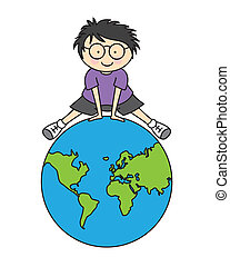 Boy with world map