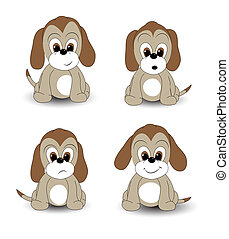 Cartoon pups - Cartoon puppy with various facial expressions