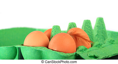 Brown chicken eggs in a carton with down feather