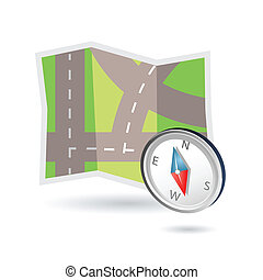 Map and compass icon - Illustration of road map and compass...