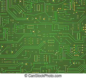 Computer motherboard background - Macro on illustrated green...