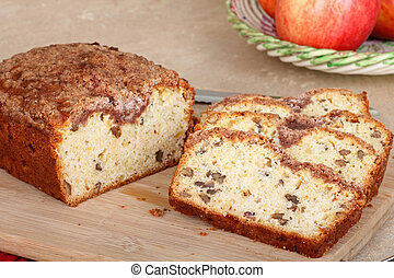 Sliced Apple Nut Bread - Slices of apple nut bread on a...