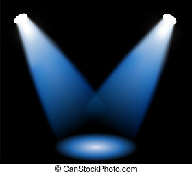 Stage lights in black background, vector illustration