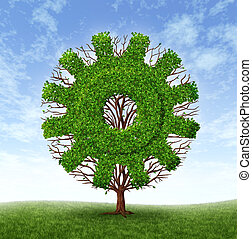 Business Growth - Growing business concept with a tree and...