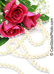rose and pearl - I took pink roses and pearl in a white...