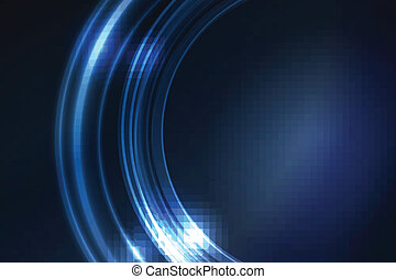 Blue glowing frame of round ring segments - Overlying...