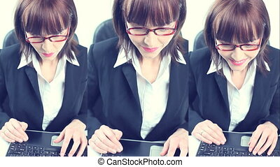 Businesswoman On A Laptop - Three different views of the...