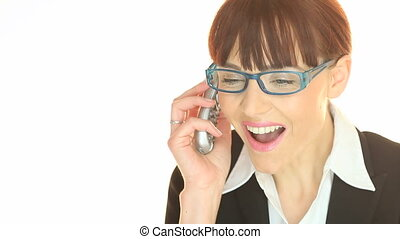 Phone Call Good News - Smiling young businesswoman in...