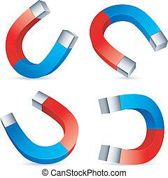 Horseshoe magnets. - Set of 4 horseshoe magnets.