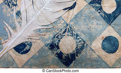 textured background of blue and brown on parchment