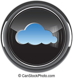 Cloud computing icon/button. Vector illustration