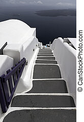 Stairway to the sea - Caldera view in Santorini island with...