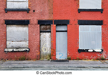 Derelict Terraced Housing - Derelict terraced housing in...
