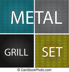 texture chrome metal grill set isolated
