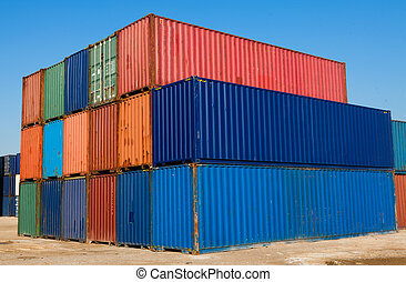 Cargo containers - Stacked color cargo containers under the...