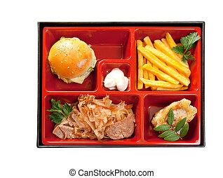 Cerdo, emparedado, alimento, Bento, japonés, Rápido,...