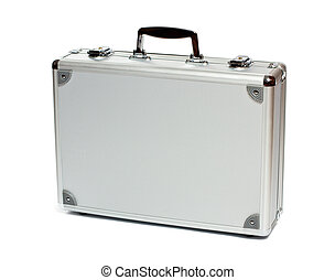 Silver metal briefcase isolated on white background