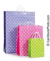 袋, 明るい, 白, 隔離された, 贈り物