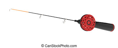 ice fishing rod isolated on white. 3d rendered image