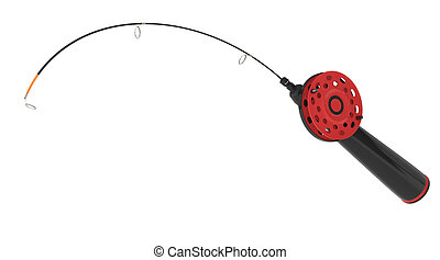 ice fishing rod isolated on white 3d rendered image