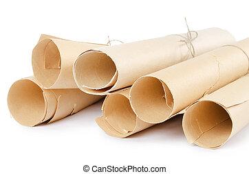 Many scrolls isolated on white isolated on white - Many...