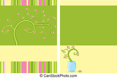 Floral flayer two sides vector based template