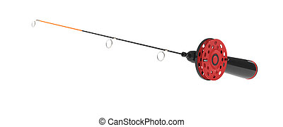 ice fishing rod on white - ice fishing rod isolated on white...