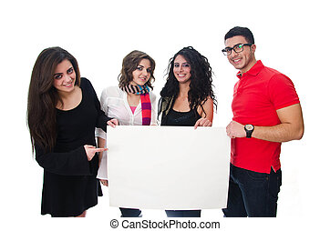Arab Young Adults carrying white board