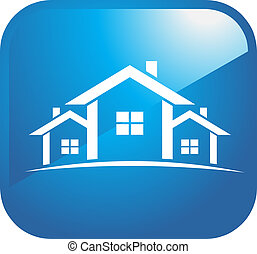 Houses icons - Three Houses icon in blue glossy