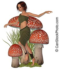 Forest Pixie - Pretty dark haired forest pixie skipping past...