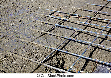 Rebar grids during concreting - Rebar grids in a concrete...