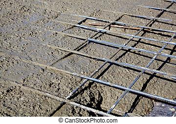 Rebar grids during concreting