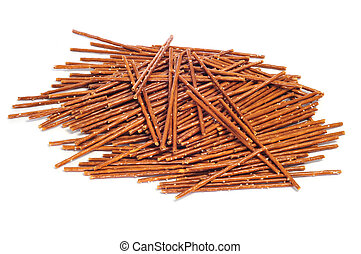 pretzel sticks - a pile of pretzel sticks on a white...
