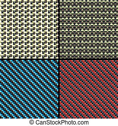 Carbon fiber, kevlar and decorative seamless patterns set -...
