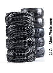stack of spare auto tires on a white background