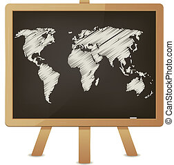 World Map On Classroom Blackboard - Illustration of an...