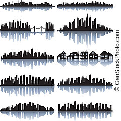 Set of detailed cities silhouette - Black cityscape...