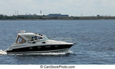 powerboat - Fast Motor Yacht, close-up