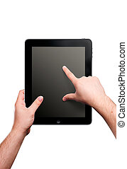 Ipad, tablet - Hand movements on tablet. Example of...
