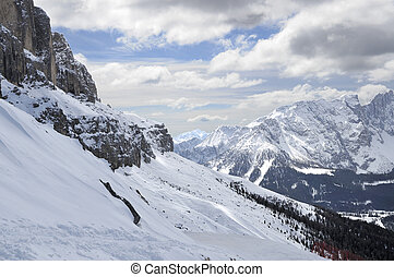 carezza ski area, dolomites - dolomites landscape with ski...