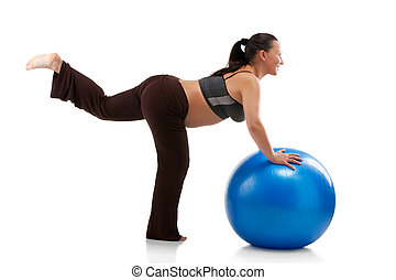 Pregnant woman doing exercises with gim ball, isolated on...