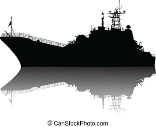 High detailed ship silhouette - Soviet russian landing ship...