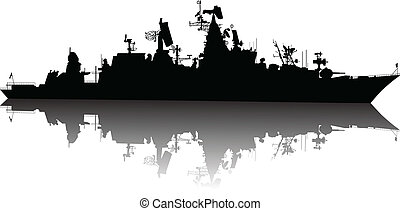 High detailed ship silhouette - Soviet russian guided...