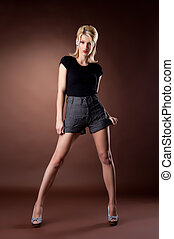 Beauty young woman stand in pin-up style cloth